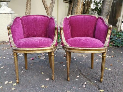 A 19th Century pair of French Napoleon III bérgere giltwood tub chairs *Not yet upholstered* ND