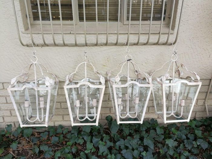 Set Of Four Large Sized Lanterns With Drip Trays For Candles And Painted White Metal - ND