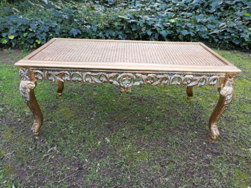 Giltwood Carved Wood And Rattan Table ND