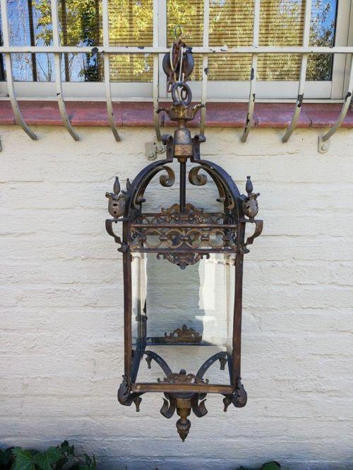 Large Wrought iron and glass hanging lantern