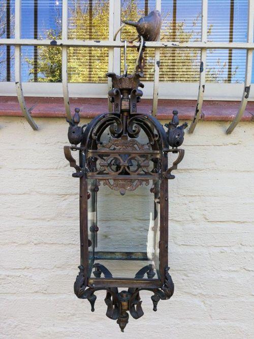 Medium Wrought iron and glass hanging lantern