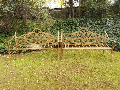 Pair Of Custom-Made Ornate Wrought Iron Scroll Benches With An Antique Rust Colour Finish