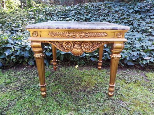 A 20th Century Giltwood Table With Marble Top