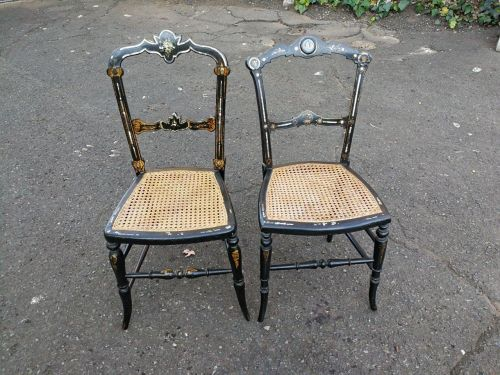 A Pair Of Victorian Ebonised And Mother-Of-Pearl Chairs With Rattan Seats