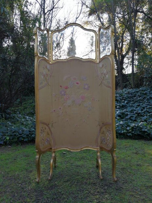 A Victorian Giltwood ScreenWithBevelled Glass Panels
