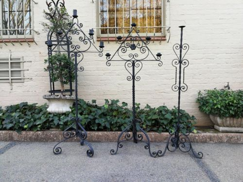 A Set Of Three Vintage Floor Standing Wrought Iron Candelabras