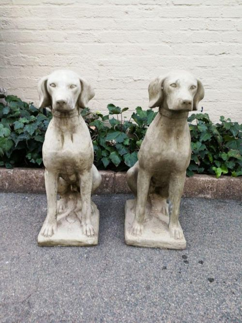 Pair Of 15 Year Old Or More Concrete Dogs