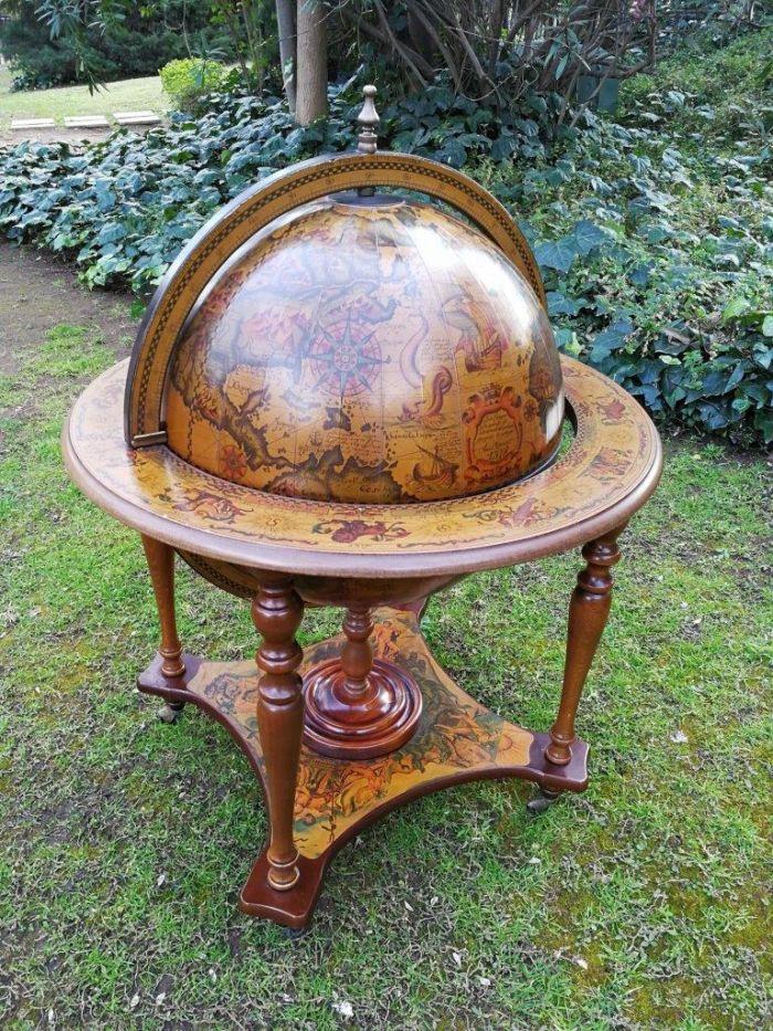 An Italian Vintage Mahogany World Globe With Internal Cocktail Cabinet