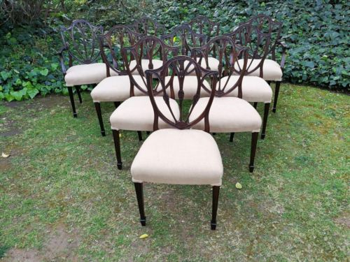A Set Of Ten Hepplewhite Style Mahogany Dining/Boardroom Chairs Comprising 2 Carvers And 8 Chairs