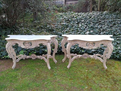 A Pair Of Marble Top With Ornately Carved Wooden Base Console Tables