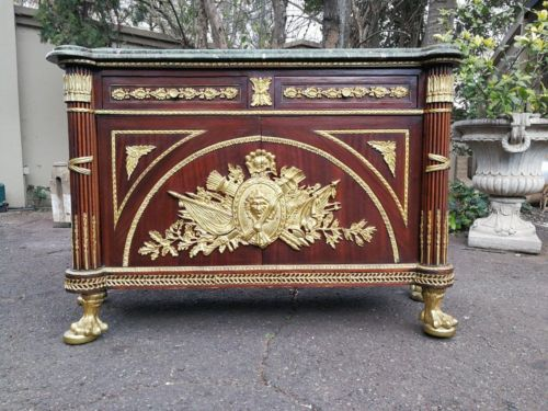 A French Style Mahogany And Ormolu Mounts And Green Marble Cabinet