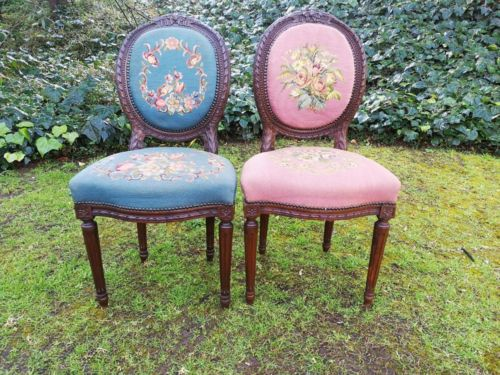 A Pair Of French Circa 1895 Walnut Carved Salon Chairs With Tapestry Upholstery