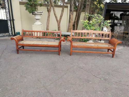 Very Rare Near Pair Of Transvaal Teakwood Riempie Benches With Herbert Baker Influence And Made By The Renowned Furniture Maker James Smith
