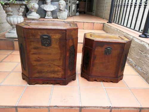 A Graduated Pair Of Decorative Mahogany Oriental Storage Boxes With A Pair Of Drop Metal Carrying Handles To Either Side