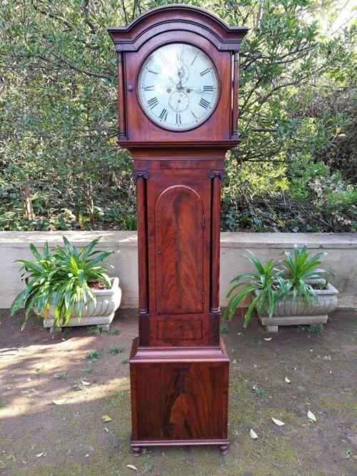 18th Century Mahogany Grandfather Clock By John Smith Inverury With Weights And Pendulum