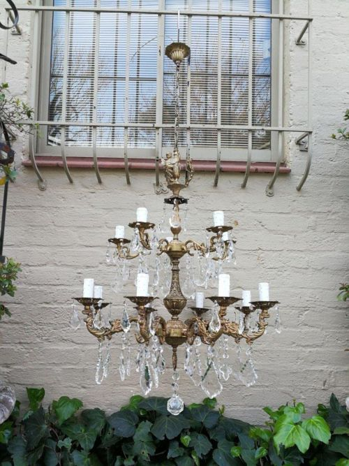 Large French Brass Antique/Vintage Chandelier With French Crystals (Over 80 Years Old)