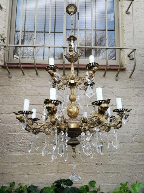 Large Brass And Crystal Antique/Vintge Chandelier With French Crystals