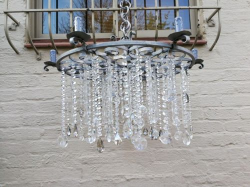 Round German Silver Chandelier With Murano Crystals