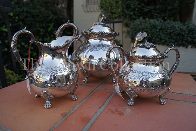 Set of 3 Ornate Silver Plated Tea Service