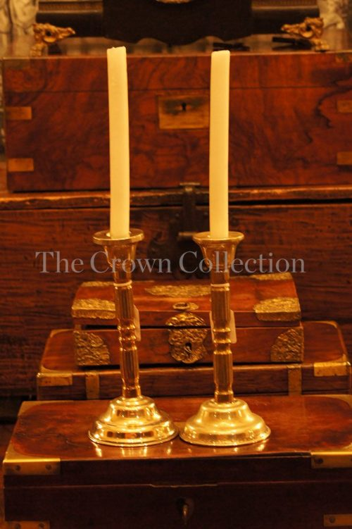 Pair silver plated & brass candlesticks