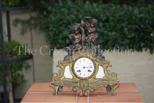 French Brass & Bronze 19th Century Mantle Clock
