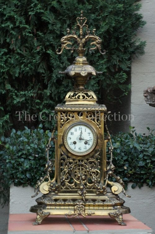 Antique French Brass Cheminee Clock