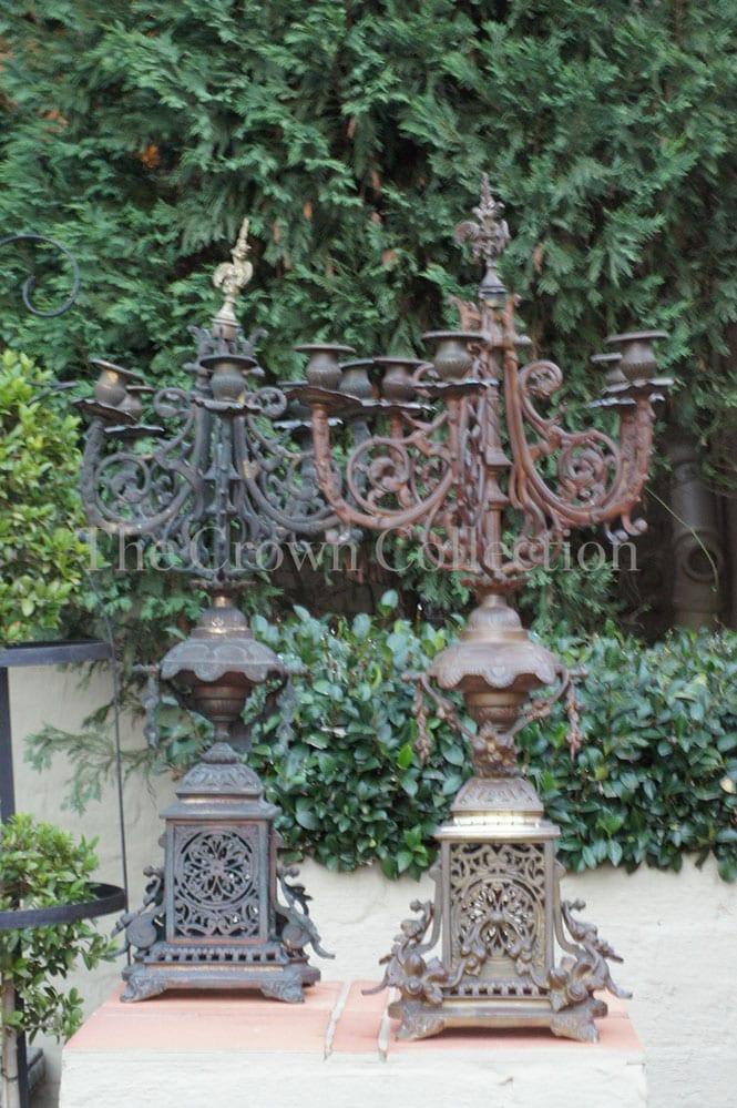 Pair French Brass Candelabra
