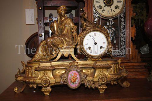French Gilt Enamel Dial Clock