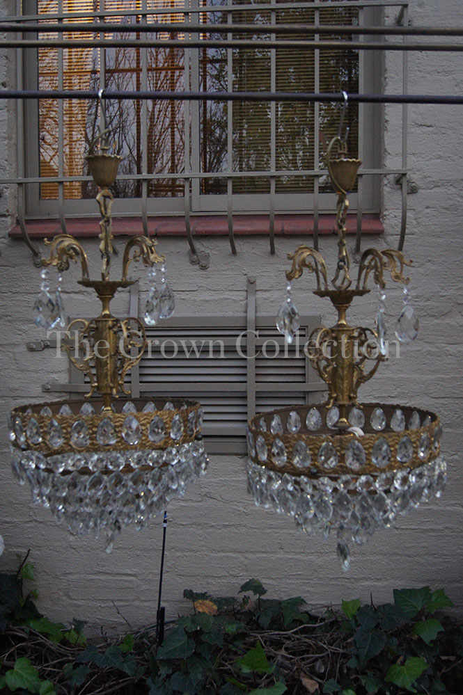 Pair Antique/Vintage French Basket Style Crystal Chandelier