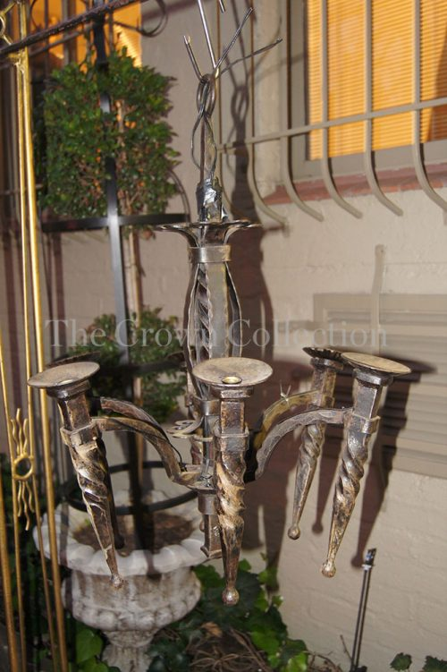 Six Arm Wrought Iron Hanging Candle Holder
