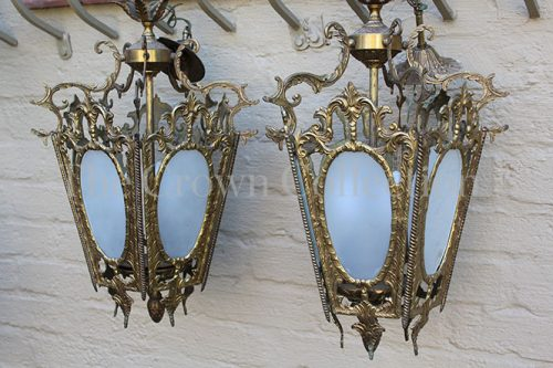Pair Lantern Shaped Light Fittings