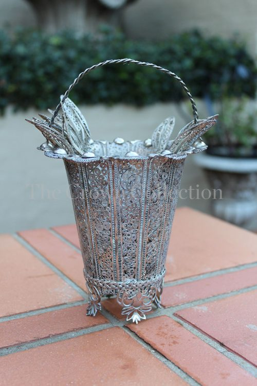 Silver Filigree Basket with 6 spoons and forks - 459g