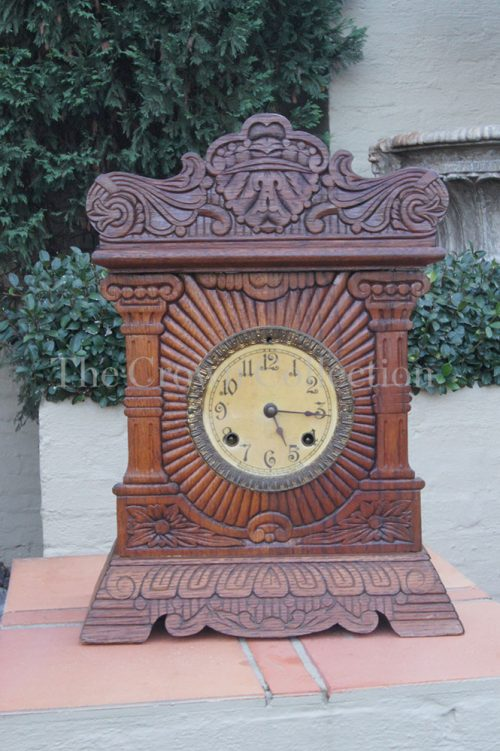 New Haven Antique Oak Clock Early 1900