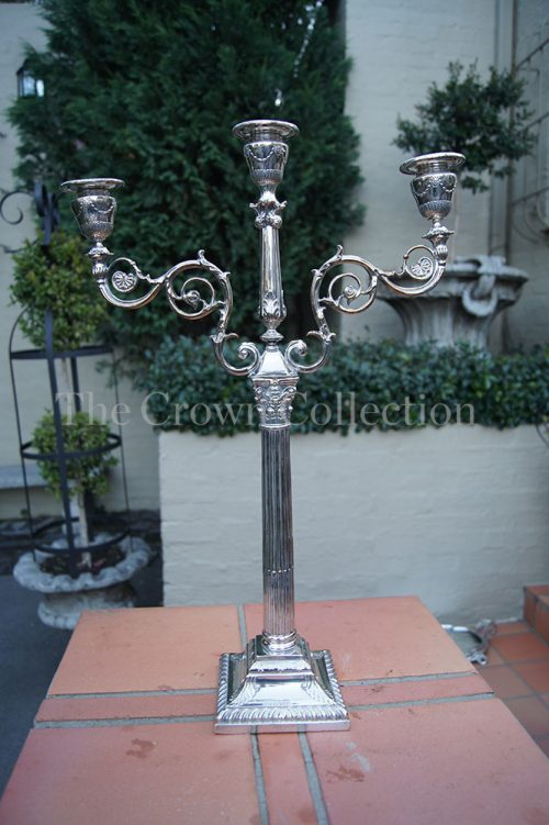 Silver Plated 3 Arm Candelabra