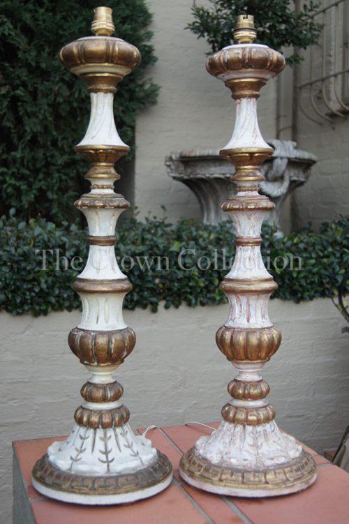 Pair Italian Wooden Gilt Lamps