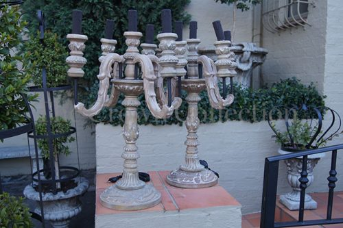 Pair Wooden Candelabra