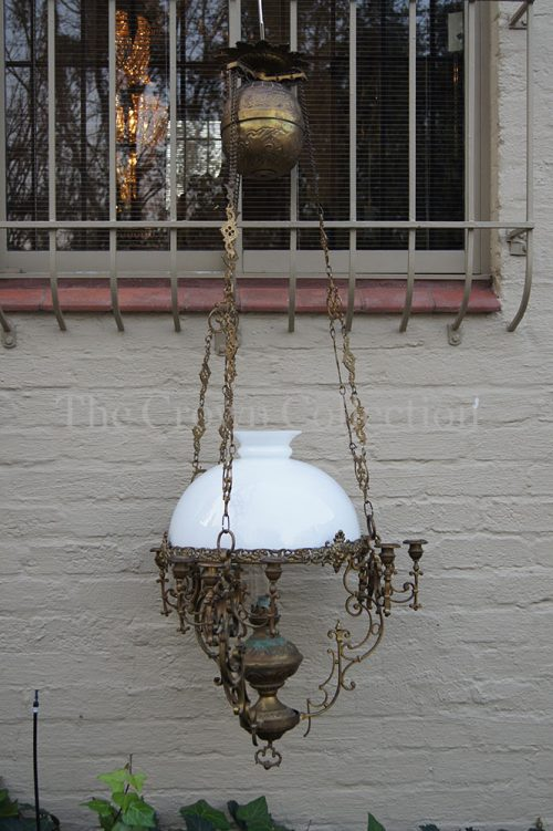 Antique Ornate Brass & Porcelain Chandelier