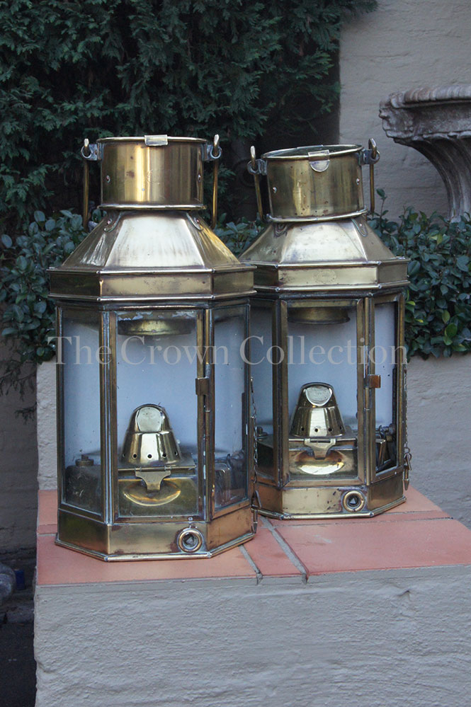 Pair 20th Century Brass Lanterns