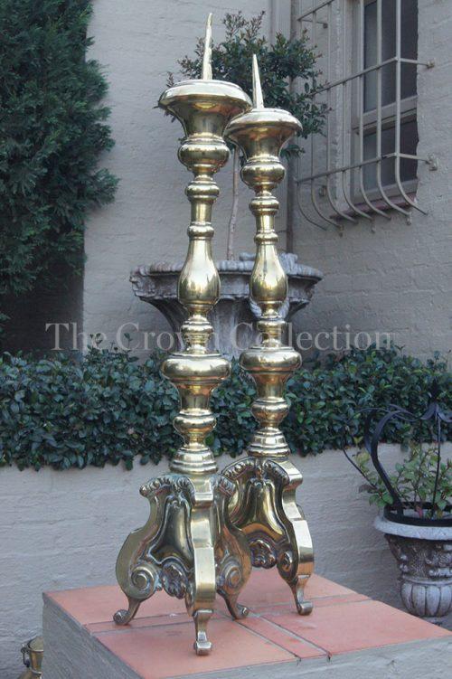 Pair Brass Altar Candelsticks