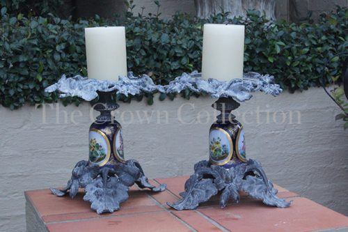 Pair Antique 19th Century Spelter & Sevres Porcelain Candlesticks ND