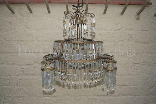 Vintage Crystal & Brass Chandelier Chandelier