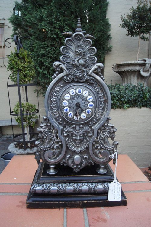 19th Century Cast Metal Mantle Clock