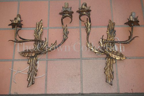 Pair French Metal Wall Sconces