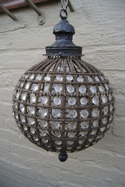 Wrought Iron & Crystal Ball Chandelier