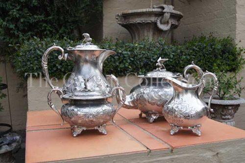 Set of 4 Sheffield Silver Plate Tea Set