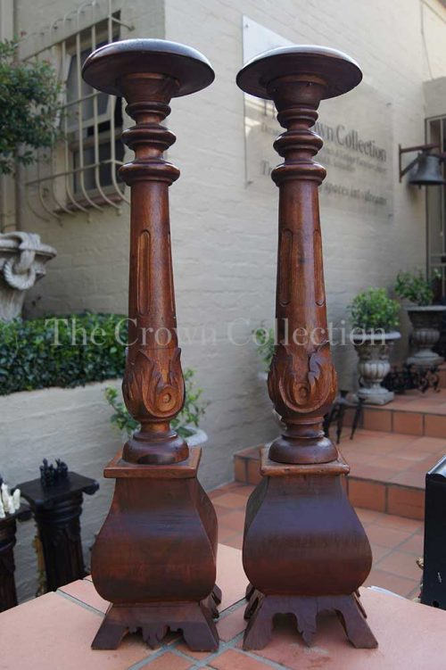 Pair Wooden Candlesticks