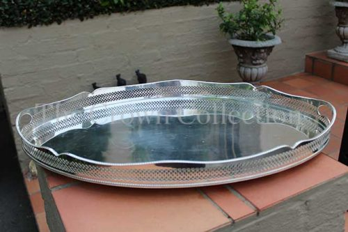 Late Victorian Silver Plated Gallery Tray