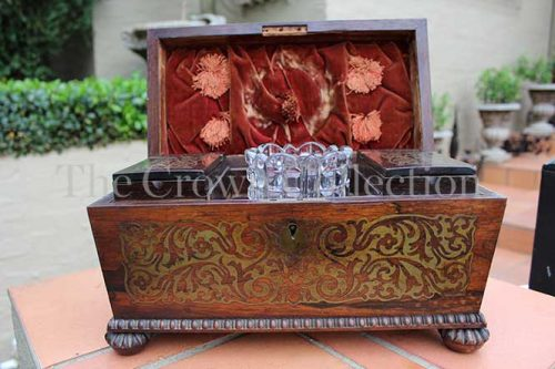 Regency Rosewood & Brass Inlaid Tea Caddy