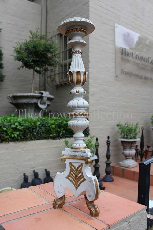 Painted Wood & Gilt Candlestick
