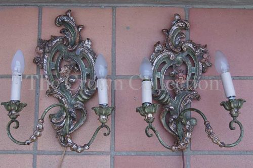 Pair Italian Carved Wall Sconces Rococo Style